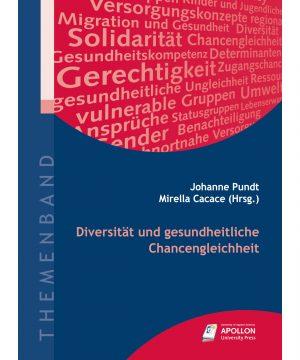 """Buchcover """"Diversität und gesundheitliche Chancengleichheit"""" herausgegeben von Johanne Pundt und Mirella Cacace"""